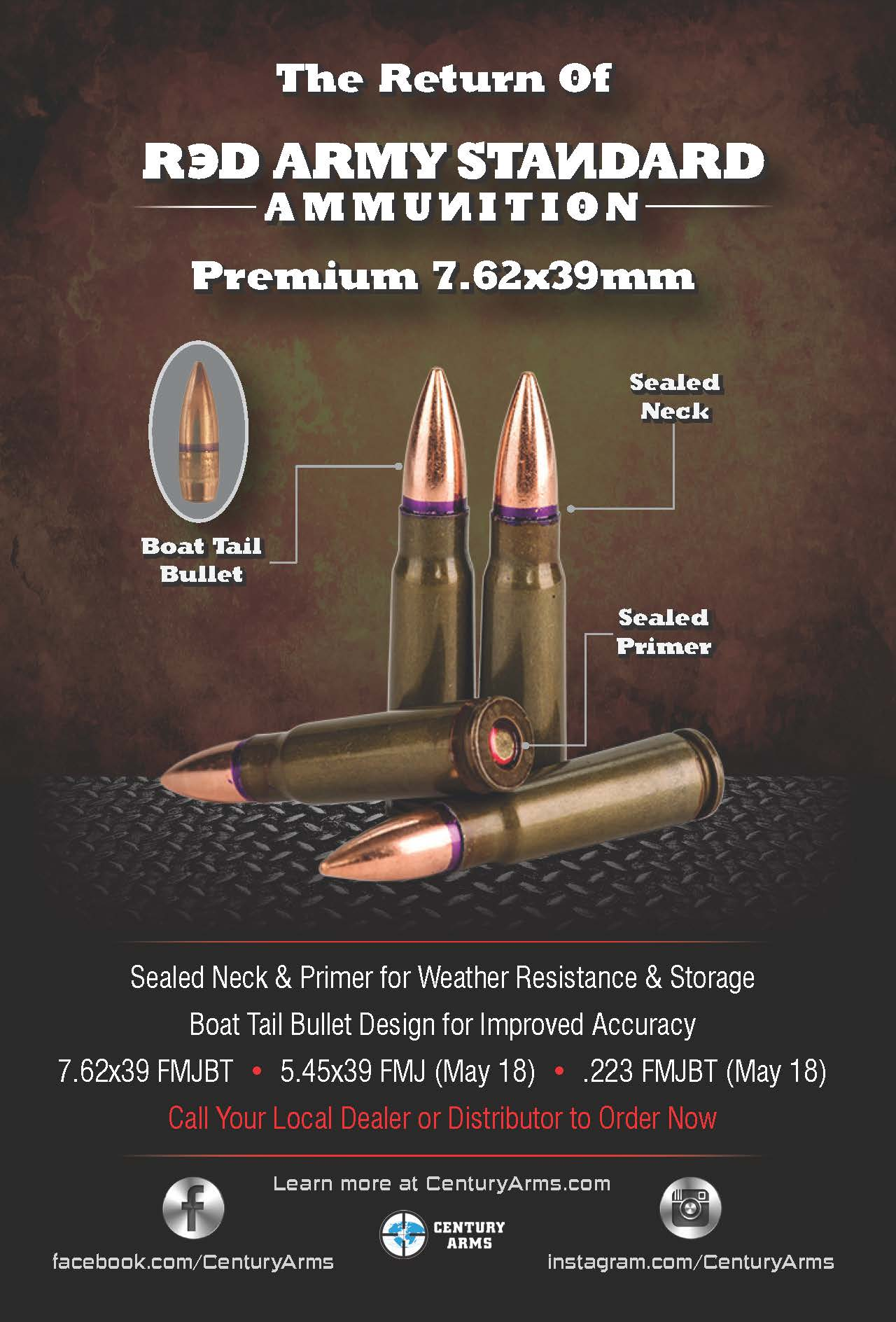 Century Arms Red Army Standard 7.62x39 Ammunition