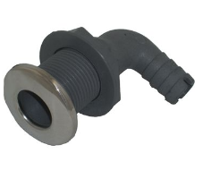 """Whitecap - 5/8"""" D 90° Angled Stainless Steel/Plastic Elbow Thru-Hull Fitting for 3/4"""" Hose with Barb"""