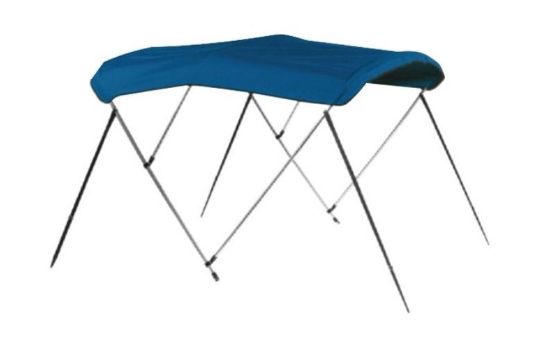 "Carver 603A04 - 6' L x 73""-78"" W x H Pacific Blue Sunbrella™ Acrylic 3-Bow Bimini Canvas with Storage Boot"