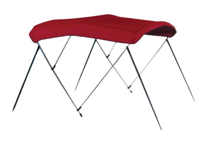 "Carver 604A07 - 6' L x 79""-84"" W x H Jockey Red Sunbrella™ Acrylic 3-Bow Bimini Canvas with Storage Boot"