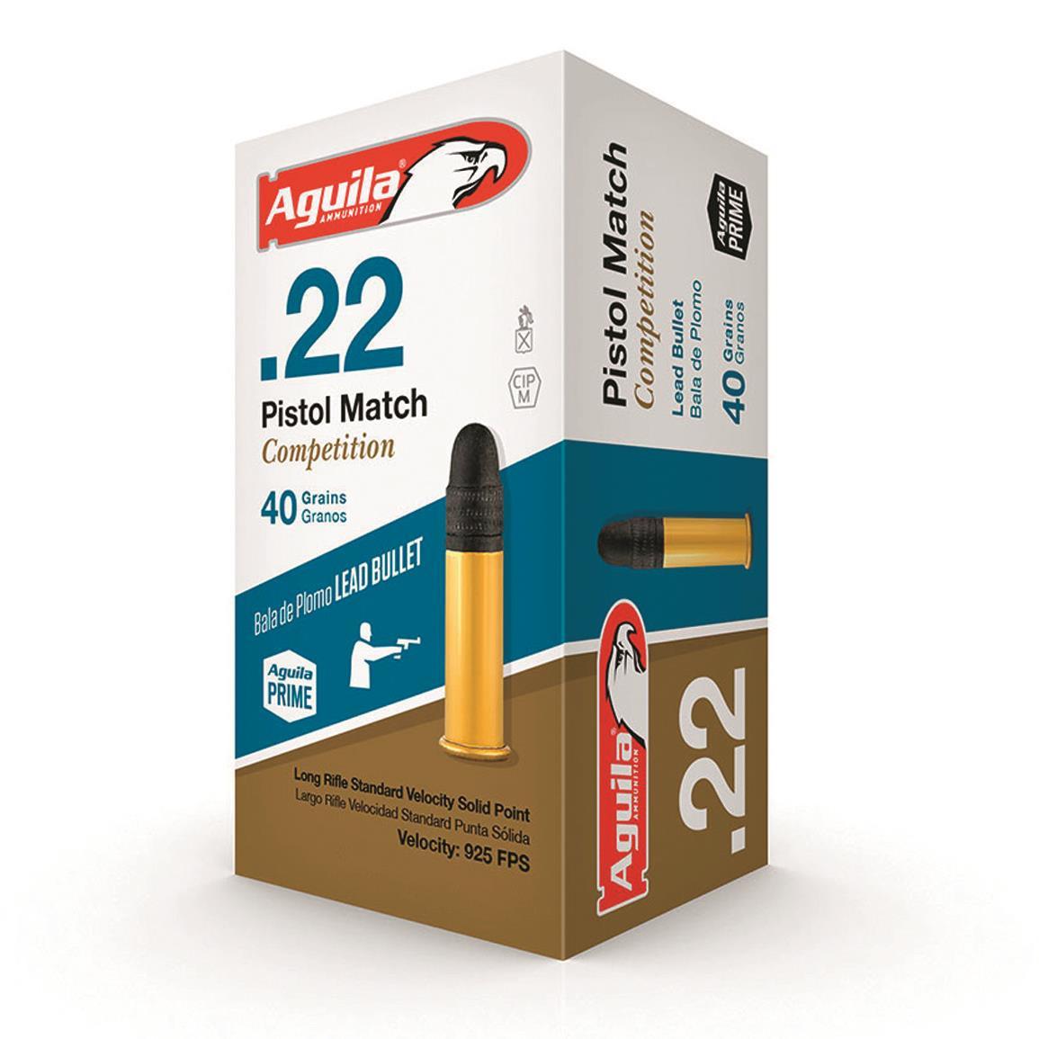 Agulia Pistol Match .22 LR, 40 GR, Box of 50