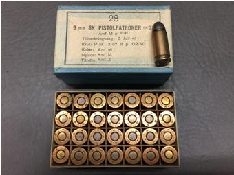 Swedish 9mm Browning Long, 28 Round Box