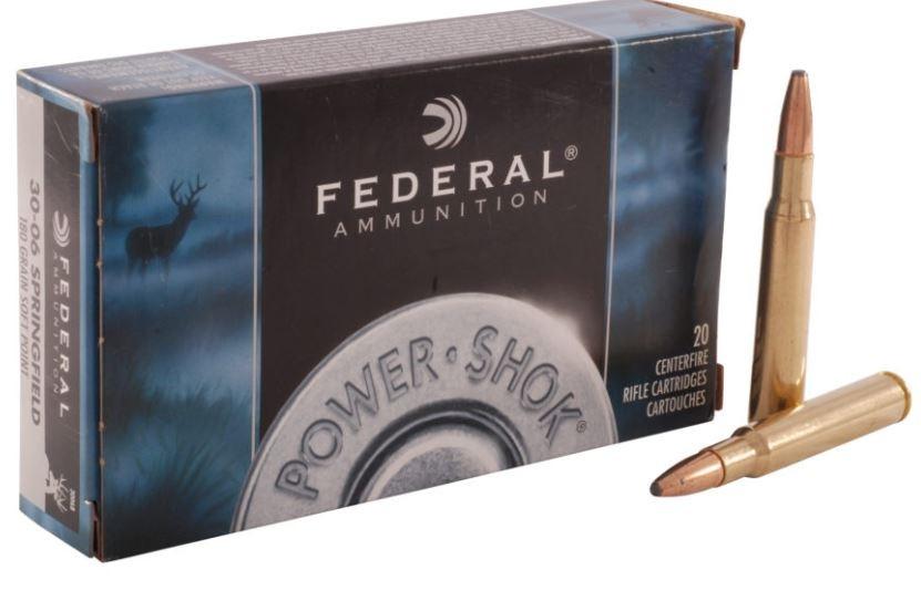 Federal Power-Shok 30-06 SPRG 180gr SP, Box of 20