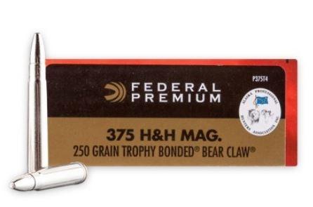 Federal Premium Vital-Shok 375 H&H Magnum, 250 GR Trophy Bonded Bear Claw, Box of 20