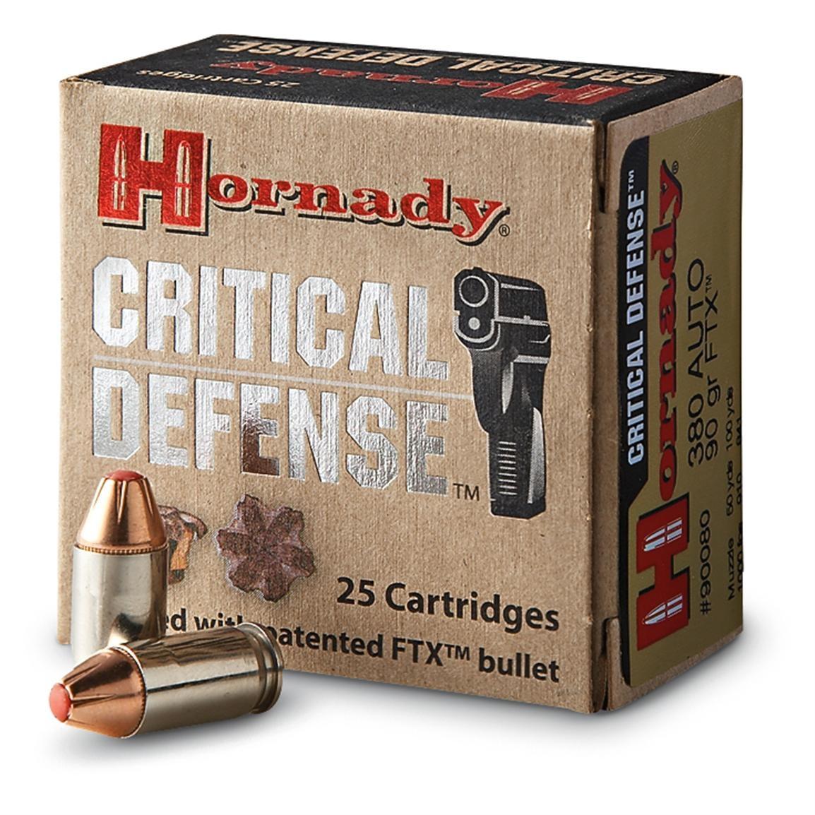 Hornady Critical Defense 380 ACP, 90 GR FTX, Box of 25