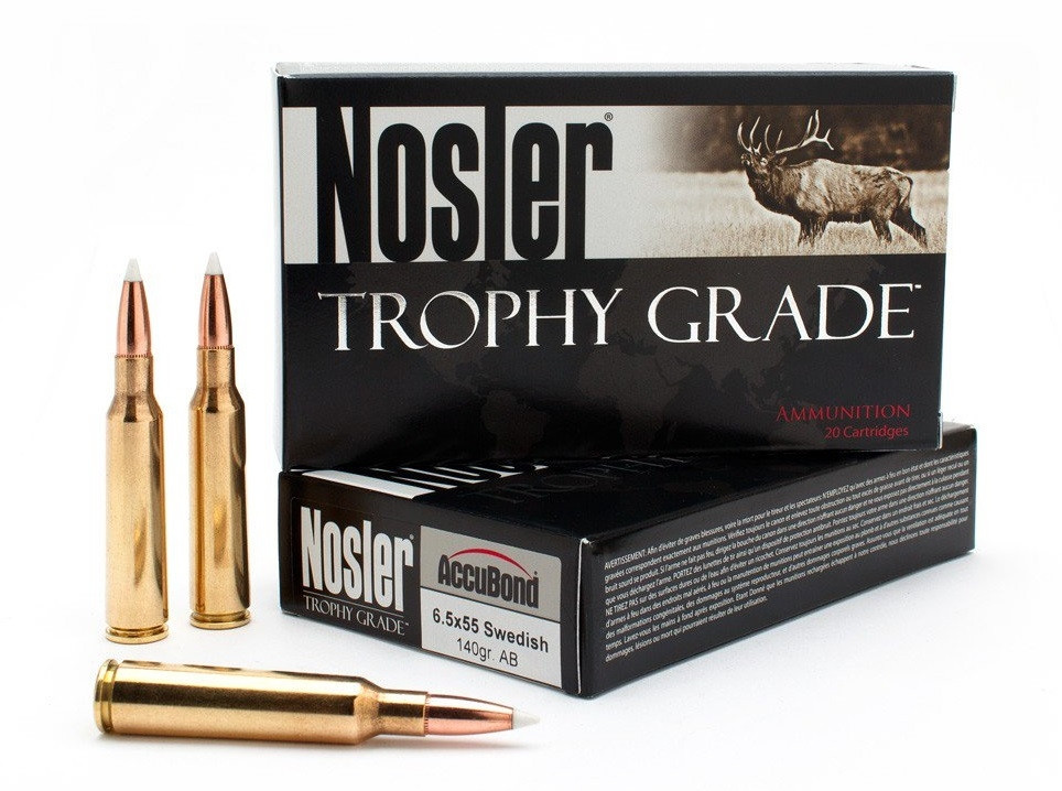 Nosler Custom Trophy Grade 6.5x55 Swedish, 140 GR Accubond, Box of 20
