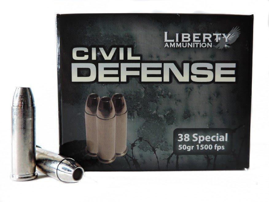 Liberty Civil Defense 38 Special, 50 GR HP, Box of 20