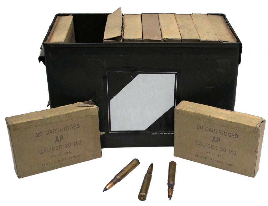USGI St Louis Ordnance Plant 30-06 M2 Armor Piercing Ammunition, *400rd Can*