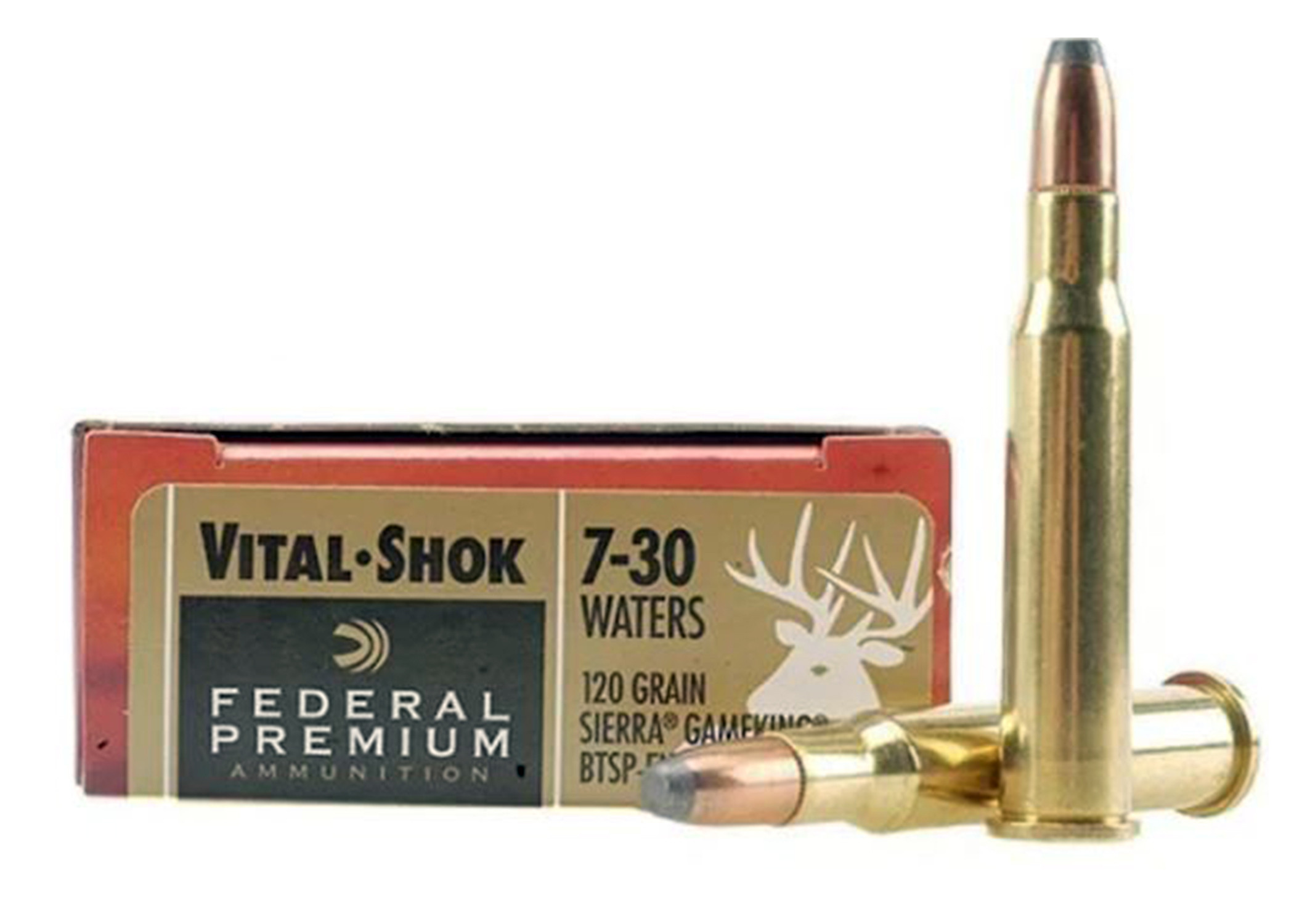 Federal Premium Ammunition, 7-30 Waters 120 Grain Sierra, GameKing Soft Point Boat Tail, Box of 20