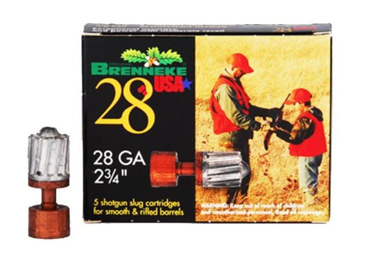 "Brenneke USA 28 GA, 2-3/4"" Rifled Slug, 5/8 oz, Box of 5"