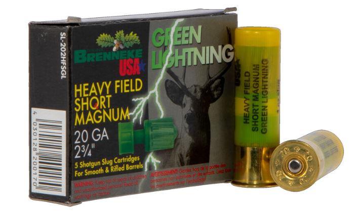"Brenneke USA Green Lightning, 20 GA, 2-3/4"" 1oz Rifled Slug, Box of 5"