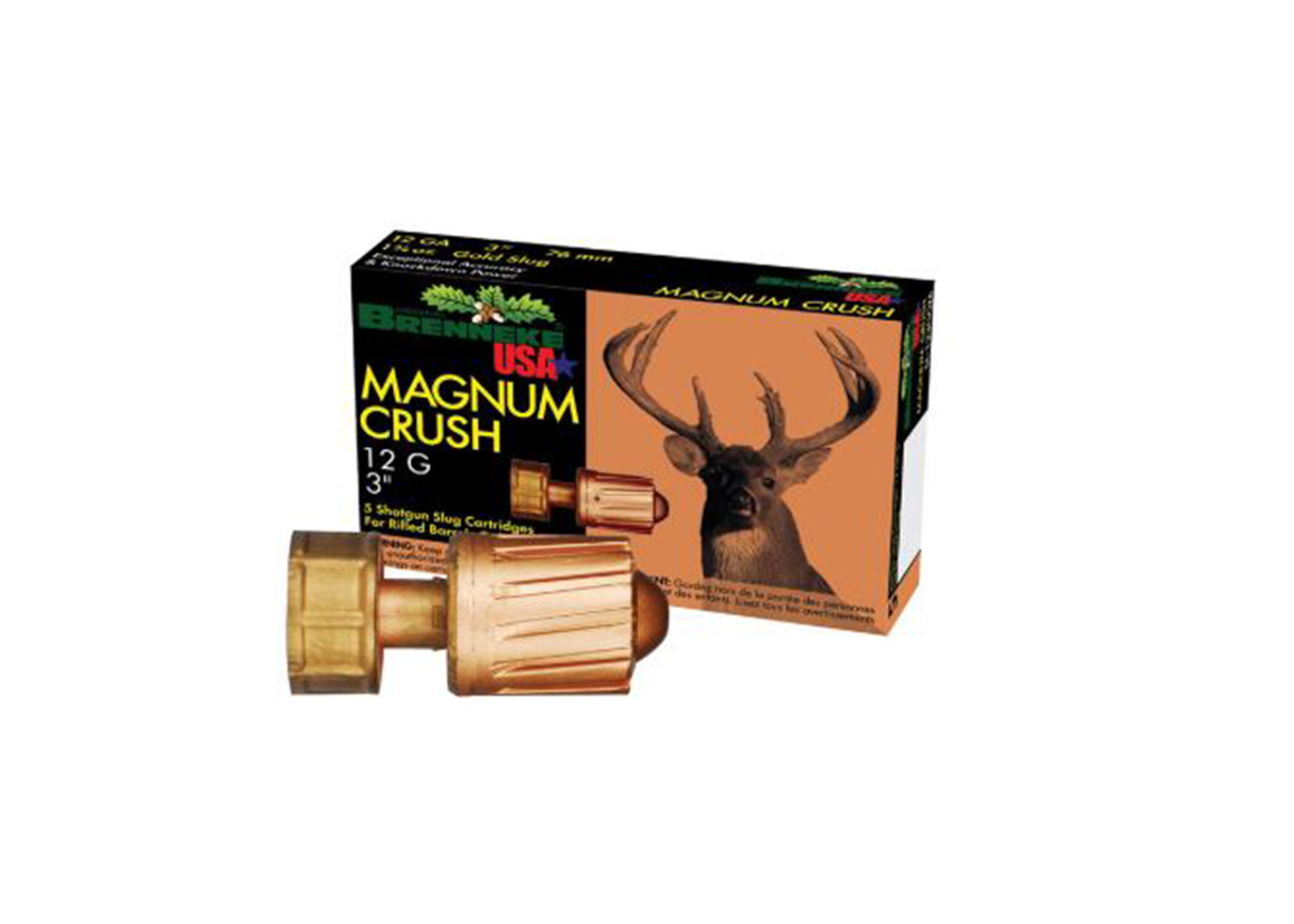 "Brenneke USA, 12GA, 3"" Magnum Crush 1-1/2OZ Slug, Box of 5"