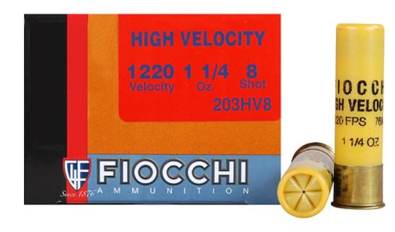 "Fiocchi Shooting Dynamics High Velocity Ammunition, 20 Gauge, 3"" 1-1/4 oz #8 Shot, Box of 25"