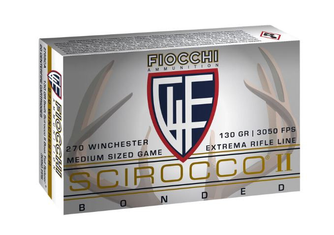 Fiocchi Extrema Rifle Line, .270 Winchester Ammunition, 130 Grain Swift Scirocco II Boat Tail Spitzer Projectile 3050 fps, 20 Round Box