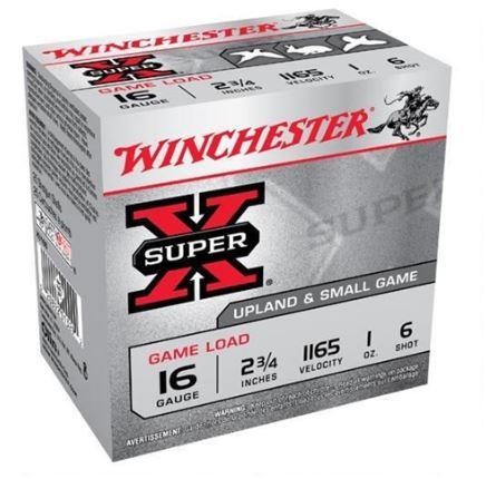 """Winchester Super-X Game Load, 16 GA 2-3/4"""" 1 oz #6, Box of 25"""