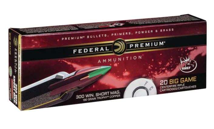 Federal Premium Ammunition, 300 Winchester Short Magnum, 180 Grain, Trophy Copper Tipped Boat Tail Lead-Free, Box of 20