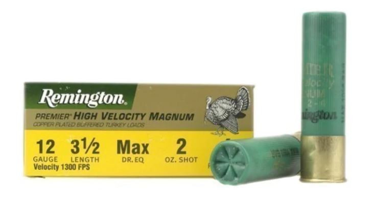 "Remington Premier Magnum Turkey Ammunition, 12 Gauge, 3-1/2"" High Velocity 2 oz #4 Copper Plated Shot, Box of 10"