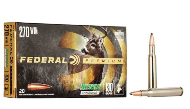 Federal Premium 270 Winchester, 130 Grain Sierra GameKing Soft Point Boat Tail, Box of 20