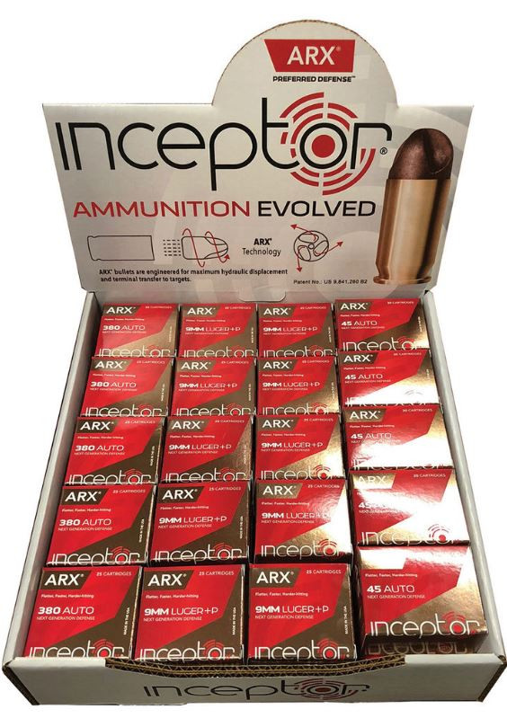 ARX Counter Stop Display, 10 Boxes of 380 Auto, 20 Boxes of 9mm, and 10 Boxes of 45 Auto