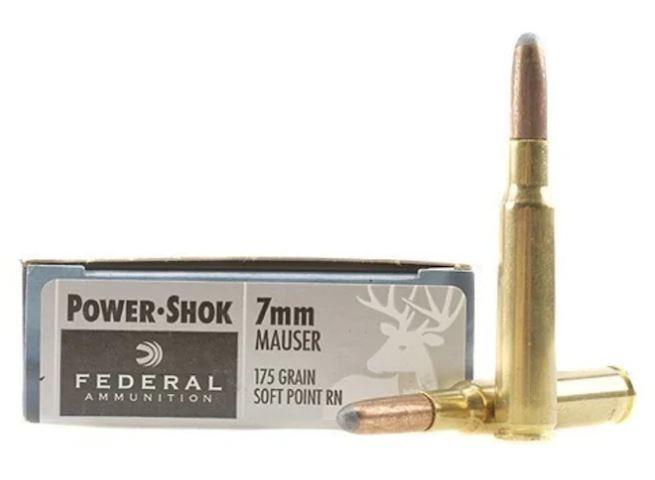 Federal Power-Shok 7x57mm Mauser (7mm Mauser), 175 GR Round Nose Soft Point, Box of 20