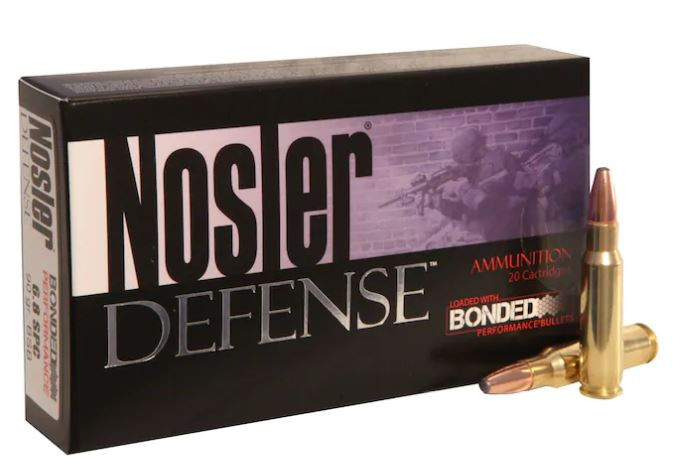 Nosler Defense 6.8mm Remington SPC, 90 GR Bonded Solid Base, Box of 20