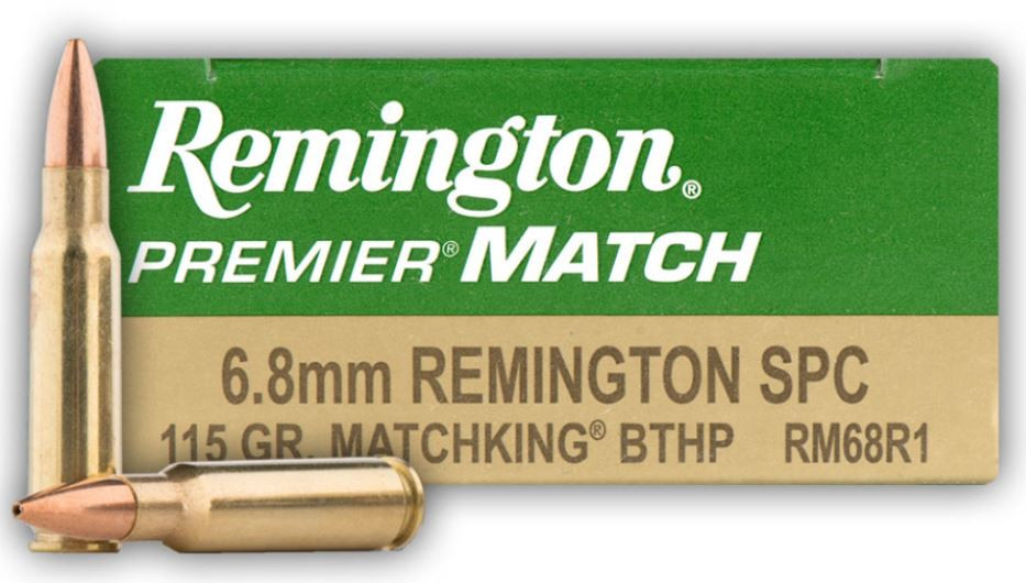 Remington Premier Match 6.8 Remington SPC  115 Grain Sierra MatchKing Boat Tail Hollow Point, 20 Round Box