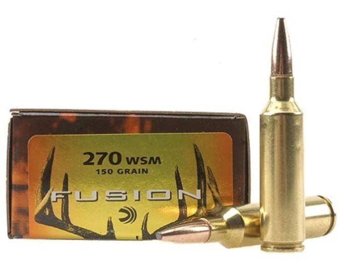 Federal Fusion 270 Winchester Short Magnum (WSM) 150 Grain Bonded Spitzer Boat Tail, 20 Round Box