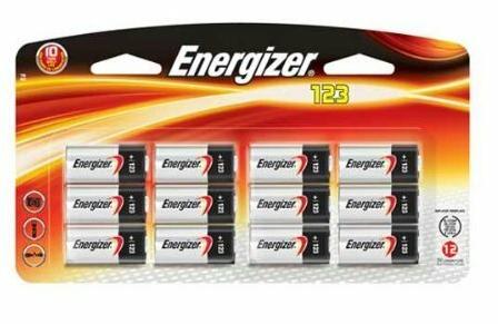 Energizer CR123A 3V Battery, 12 Pack