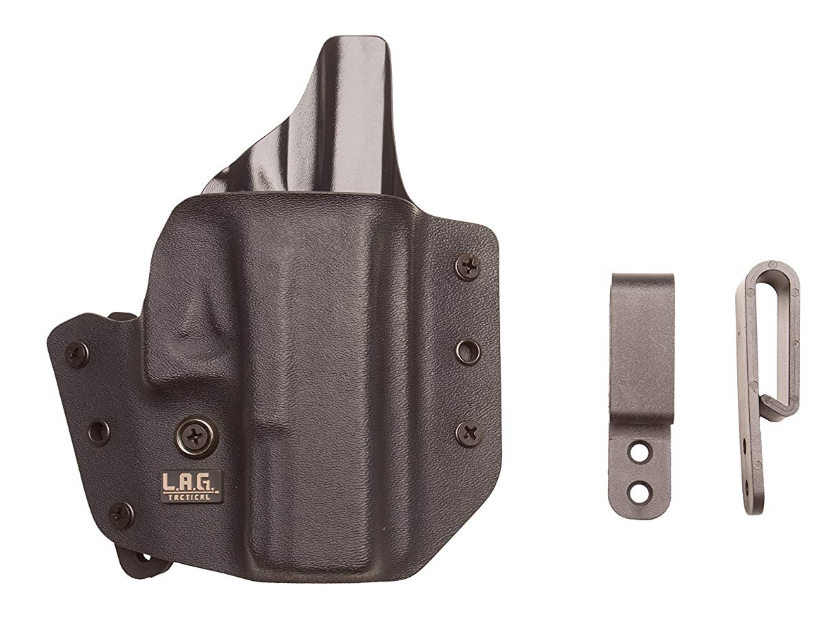 L.A.G. Tactical Defender Series OWB/IWB Holster for Ruger LCP, Black, Right Hand