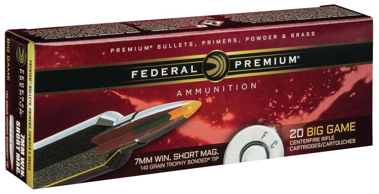 Federal Premium 7mm Winchester Short Magnum (WSM) 160 Grain Trophy Bonded Tip, Box of 20