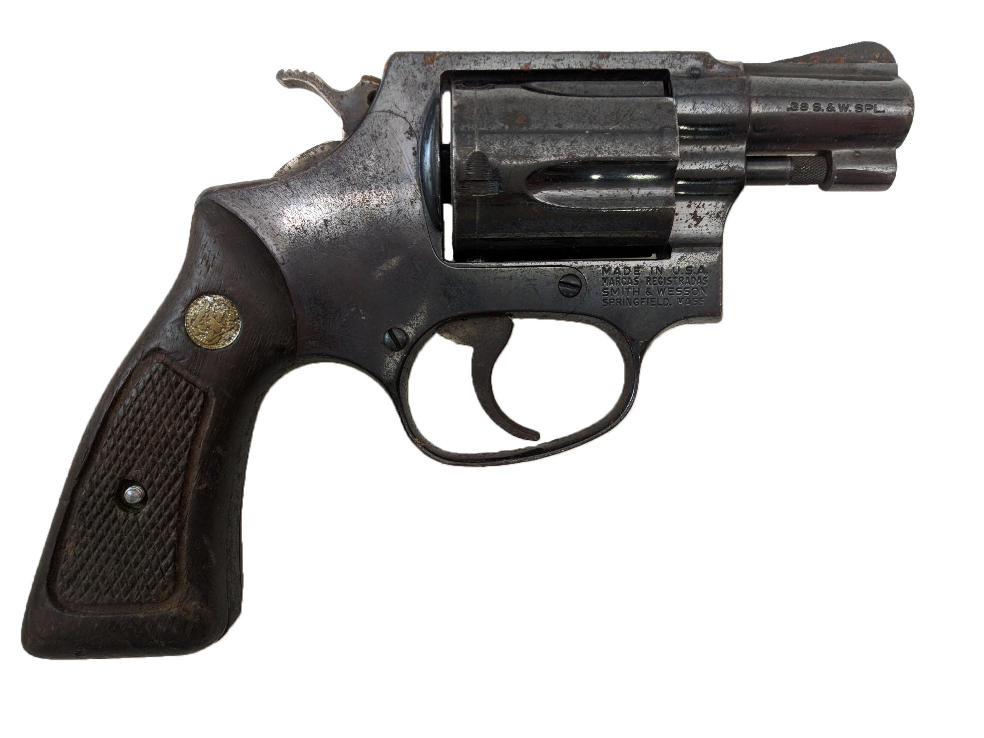 """Smith & Wesson Model 36 """"No Dash"""", 2"""" Blue Square Butt, 38 Special, *Fair*"""