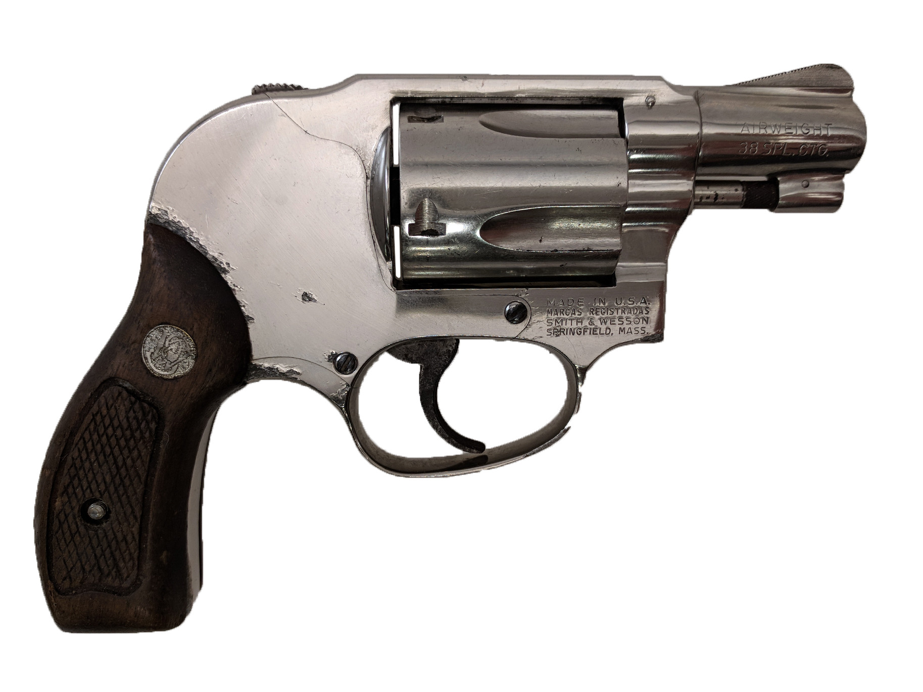 """Smith & Wesson Model 38 Airweight, 2"""" Nickel, 38 Special *Fair*"""