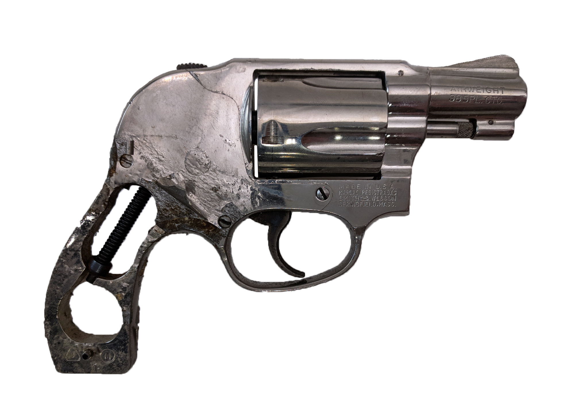 """Smith & Wesson Model 38, 38 Special, 2"""" Nickel, *Fair, Incomplete*"""