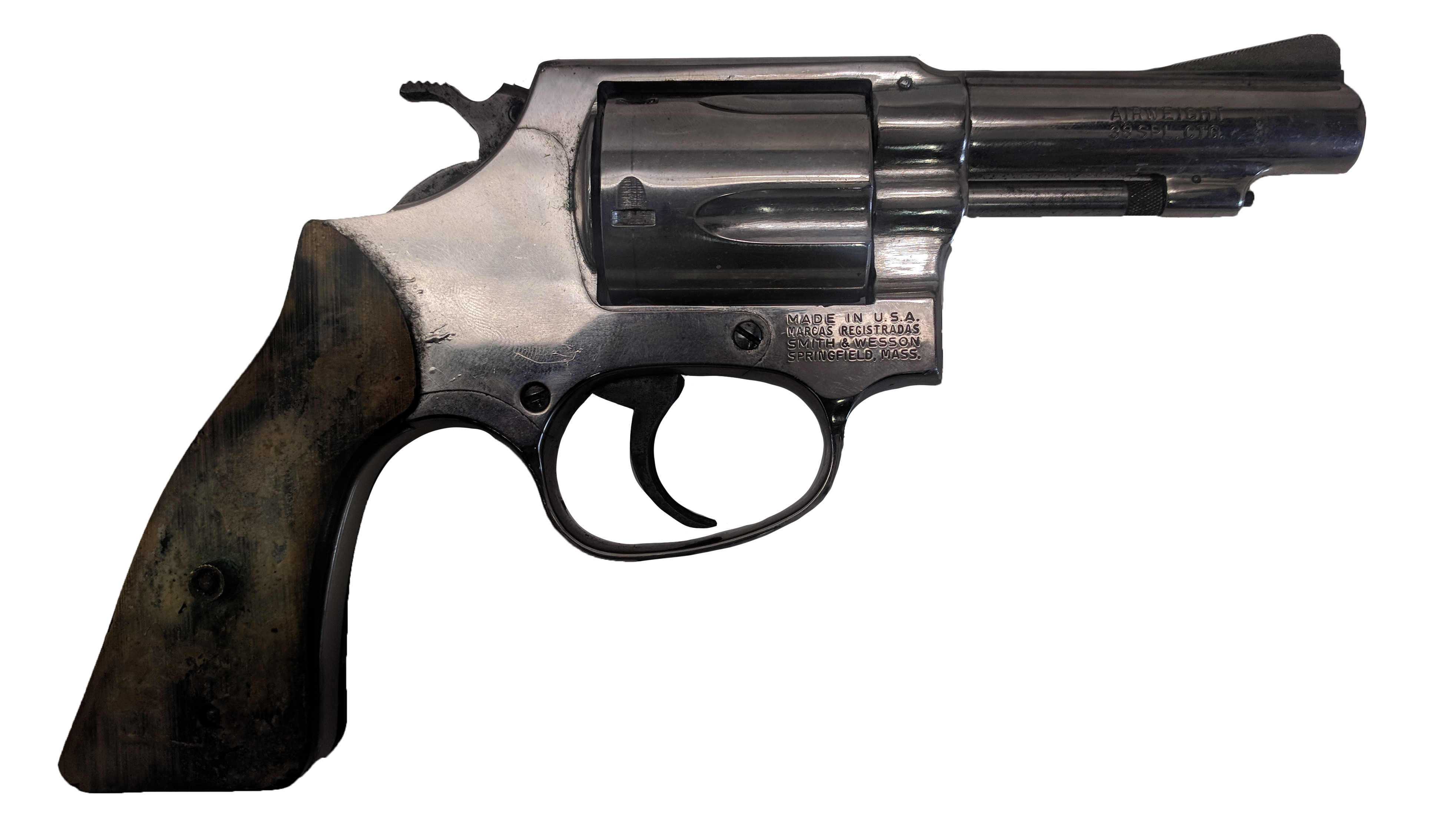 """Smith & Wesson 37, 38 Special, 3"""" Nickel, *Fair, Incomplete*"""