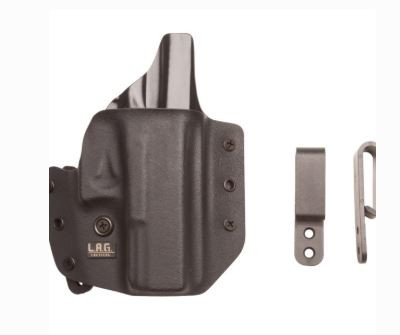 """L.A.G. Tactical Defender Series OWB/IWB Holster for Springfield XDS 3.3"""" 9/45, Black, Right Hand"""