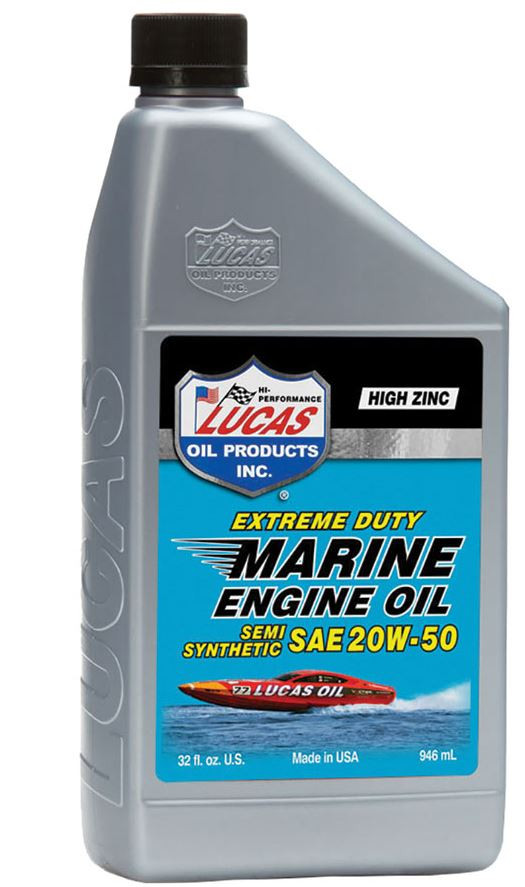 Lucas Oil Products Extreme Duty Marine Engine Oil, Semi-Synthetic SAE 20W-50, Case of (6) 1 QT Bottles