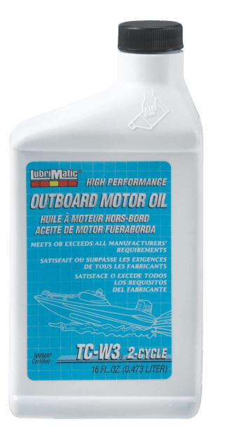 Lubrimatic Outboard 2-Cycle Motor Oil, TCW3, 16 oz Bottle, Case of 12