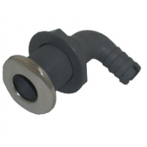 "Whitecap - 5/8"" D 90° Angled Stainless Steel/Plastic Elbow Thru-Hull Fitting for 3/4"" Hose with Barb"