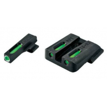 TruGlo TFX Standard Height SIG Sauer #6 / #8 Front/Rear Day/Night Sight Set Green Tritium 3-Dot Configuration Front White Focus Lock Ring Square Cut Rear Notch Steel Black