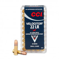 CCI Velocitor .22 Long Rifle, 40 Grain Plated Lead Hollow Point, Box of 50