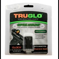 TruGlo Pistol Red Dot Sight Mount Plate Fits GLOCK Rear Sight Dovetail Trijicon RMR Steel Black