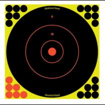 "Birchwood Casey Shoot-N-C 12"" Bullseye Indoor/Outdoor Paper Target Self-Adhesive Black/Chartreuse Splatter 5 Pack"