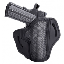 """1791 Gunleather Project Stealth Multi-Fit OWB Belt Holster for 4""""/5"""" Full Size 1911 Models Right Hand Draw Carbon Fiber/Leather Black"""
