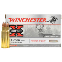 Winchester Super-X 6mm Remington, 100 GR SP, Box of 20