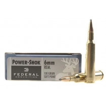 Federal Power-Shok Ammunition,  6mm Remington, 100 Grain Soft Point, Box of 20