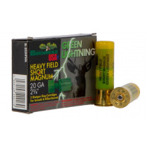 "Brenneke USA Green Lightning, 20 Gauge Ammunition, 5 Rounds, 2-3/4"" 1 oz Rifled Slug 1392 fps"