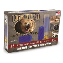 "Lightfield Wildlife Control Less Lethal 12 GA, 2-3/4"" Extended Range Rubber Slug, Box of 5"