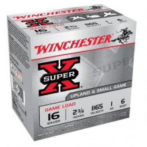 "Winchester Super-X Game Load 16 Gauge Ammo 2-3/4"" 1 oz #6 Shot, 25 Round Box"