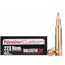 Nosler Trophy Grade 223 Remington, 40 GR Ballistic Tip Varmint Spitzer, Box of 20