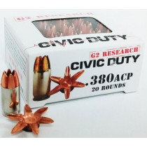 G2 Research Civic Duty 380 ACP, 64 GR Expanding Solid Copper Lead-Free, Box of 20